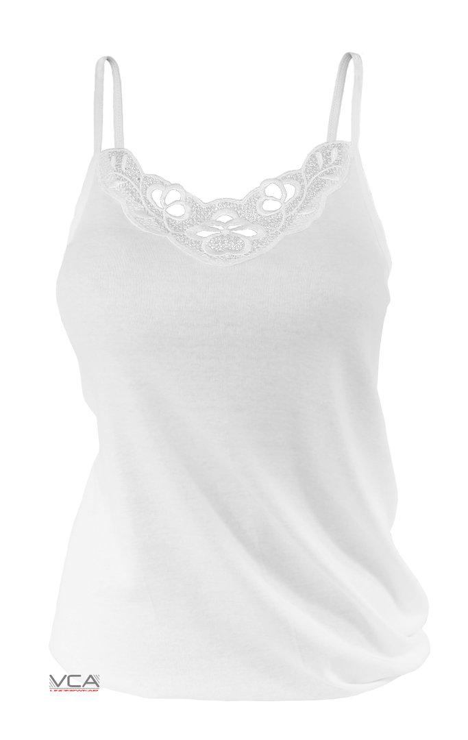 cccffaa410a31 ... yenita® ladies cotton spaghetti top with lace ...