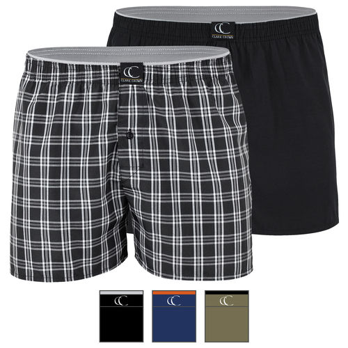 Clark Crown® men woven boxershort with fly button - color selectable